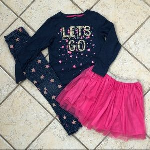 Gymboree girls 10-12 outfit, shirt, skirt, legging